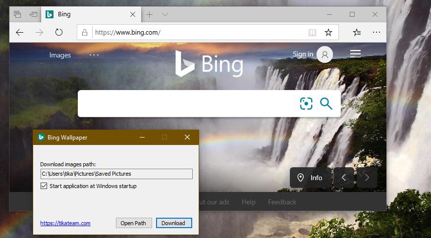 تغییر خودکار پس زمینه ویندوز با نرمافزار Bing Wallpaper